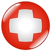 Vector clipart: button in colours of Switzerland