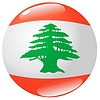 Vector clipart: button in colours of Lebanon