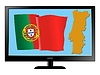Vector clipart: Portugal on TV