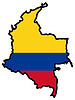 Vector clipart: Map in colors of Colombia