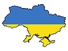 Vector clipart: Map in colors of Ukraine