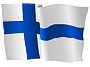 Векторный клипарт: развевающийся флаг Финляндии