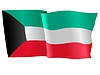 Vector clipart: waving flag of Kuwait