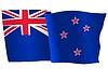 Векторный клипарт: развевающийся флаг Новой Зеландии