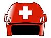 Векторный клипарт: хоккейный шлем в цветах Швейцарии