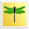 Vector clipart: stamp with dragonfly