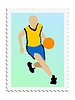 Vector clipart: stamp with basketball