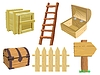 Vector clipart: Set of wooden objects