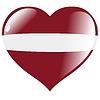 Vector clipart: heart with flag Latvia