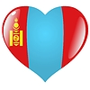 Vector clipart: heart with flag Mongolia