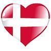 Vector clipart: heart with flag of Denmark