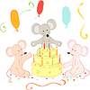 Vector clipart: Birthday cute mice