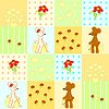 Seamless pattern with cute mice