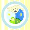Векторный клипарт: Детские иллюстрации или карты животное с мячом