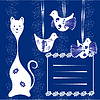 Vector clipart: cat&bird