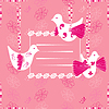 pink card with birds