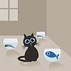 Векторный клипарт: Кошка в доме