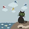 Векторный клипарт: Кошка на природе