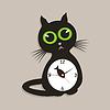 Векторный клипарт: Часы кошка