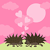 刺猬的爱情 | 向量插图