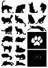 Векторный клипарт: Силуэты кошек