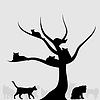 Vector clipart: Tree of cats