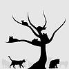 Векторный клипарт: Дерево кошек