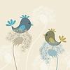Векторный клипарт: Птица на одуванчик