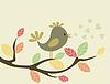 Векторный клипарт: Птица на tree