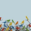 Векторный клипарт: Птицы на ветках дерева