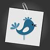 Векторный клипарт: Птица на листе