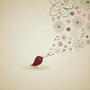 Векторный клипарт: Птичка поет