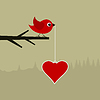 Векторный клипарт: Птичка с сердцем
