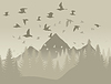 Vector clipart: Birds in mountains