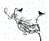 Vector clipart: Bullfinches on branch