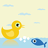 Vector clipart: Duck and fish