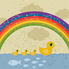 Vector clipart: Ducks under rainbow