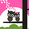 Vector clipart: Enamoured owls