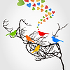 Vector clipart: Love of birds