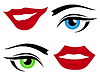 Vector clipart: Eyes and lips