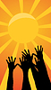 Vector clipart: Hands reach for sun