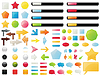 Vector clipart: Big collection of buttons