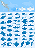 Vector clipart: Collection of fishes