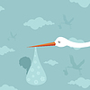 Vector clipart: Stork and kid
