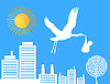 Vector clipart: Stork over city