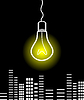 Vector clipart: Bulb over city