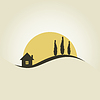 Vector clipart: house and three trees