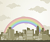 Vector clipart: Rainbow over city