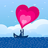Vector clipart: Enamoured in boat