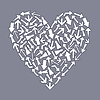 Vector clipart: Heart of arrows